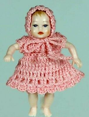 Heidi Ott Baby Doll In Pink Knitted Outfit, Doll House Miniature, 1.12 Scale