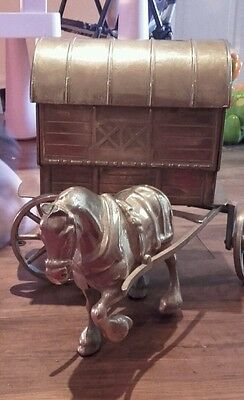 Brass horse and carriage