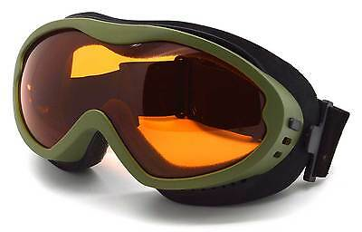 Adult Antifog Ski Goggles Green / Orange Lens All Conditions Bond-GRN