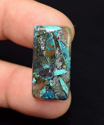 Beautiful ! 14.60 Cts. Natural  Silver  Azurite  Cushion Cab For Silver Pendant