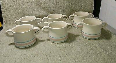 6 Vintage Blue Pink Stripes Band McCoy Two Handle Soup Chili Mugs Cups