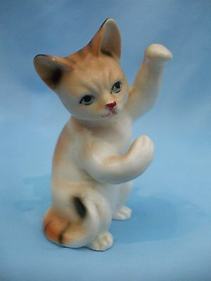 Collectable White and Brown Bone China Cat Ornament Playing