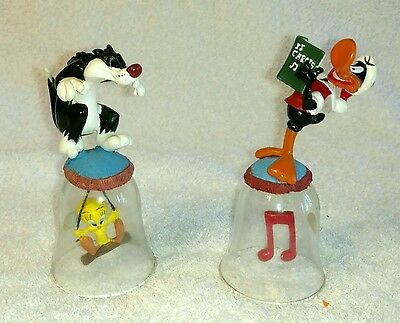 Sylvester & Tweety, Daffy Duck Christmas Looney Tunes Glass Bells 1998 2 NIB
