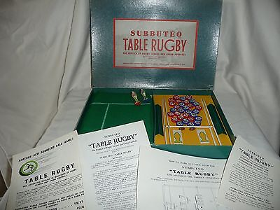 Vintage Subbuteo 1St Type Table Rugby Set 100% Complete Teams Boxed + Paperwork