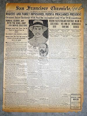 1913 Newspaper Front Page  - Francisco Madero Imprisoned - Mexican Revolution