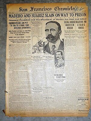 1913 Newspaper Front Page  - Francisco Madero Assassinated - Mexican Revolution