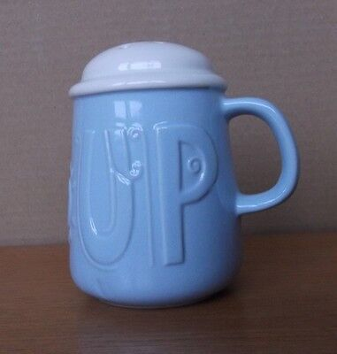 Pottery Sugar Shaker In Light  Blue And White Unused Condition
