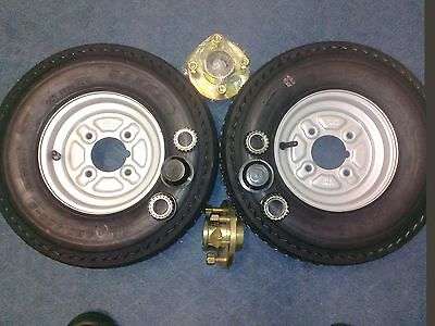 """2 x Trailer Wheels 400 x 8"""" 4"""" pcd with Trailer hubs and bearing Kit"""