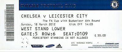Chelsea v Leicester City - FA Cup Quarter Final - 2011/12 - Used Ticket