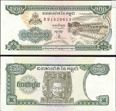 Cambodia 200 Riels 1998 year BrandNew Banknotes