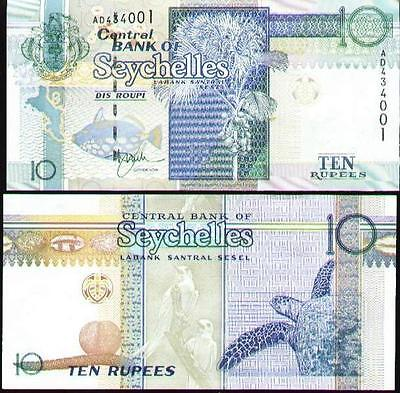 Seychelles 1998 year 10 rupees BrandNew Banknotes