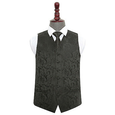New Dqt Passion Black Men's Wedding Waistcoat & Tie Set