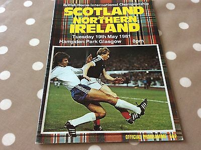 Scotland V Northern Ireland football official Programme 1981