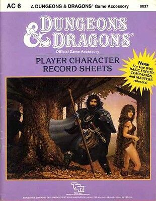 AC6 PLAYER CHARACTER RECORD SHEETS EXC! 9037 D&D TSR Dungeons Dragons Records