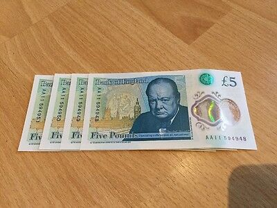 Four £5 Notes Consecutive Low Serial Number AA