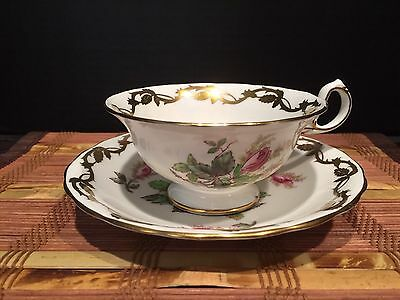 "Royal Chelsea ""Moss Rose"" One Tea Cup & One Saucer Set"