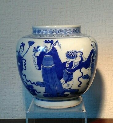 Superb Chinese Blue and White Hand Painted Jar With Kangxi Mark To Base