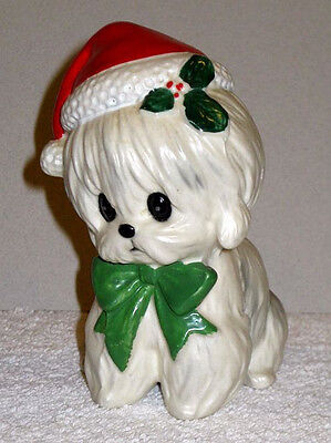 Adorable 1970s Little White Dog with Christmas Hat Perfect Lefton