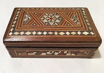 Vintage Mother Of Pearl Inlaid Arts And Trinket / Jewellery Box