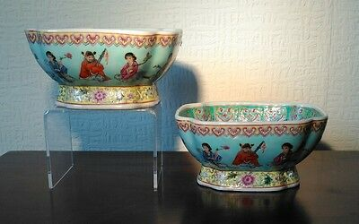 Superb Chinese Pair of Famile Rose Hand Painted Bowls With Qianlong Mark to Base