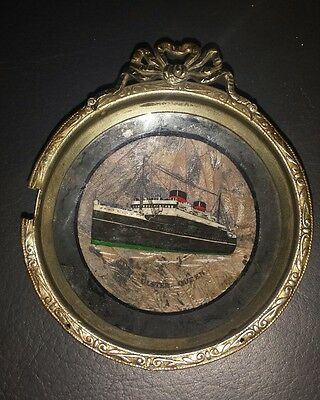 Rare Daguerreotype Mv Ulster Queen Photograph Ship Ferry Silver Pin Dish Picture