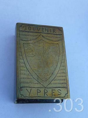 WWI Ypres Souvenir 1914-17 Trench Art Brass Matchbox Holder / Sleeve