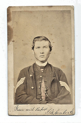 RARE 1860's CDV of an ID'd CIVIL WAR  SOLDIER JW Combs
