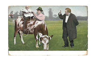 Multi Babies Vintage  Fantasy Postcard Children Drinking Milk From Cows