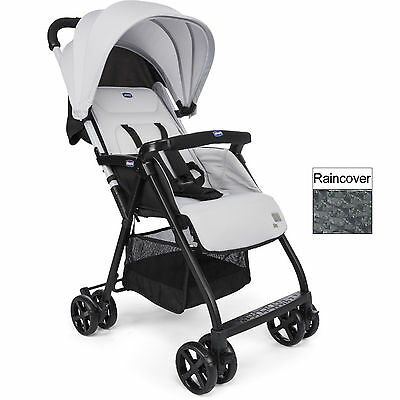 Chicco Ohlala Silver Lightweight Baby Pushchair Stroller With Raincover