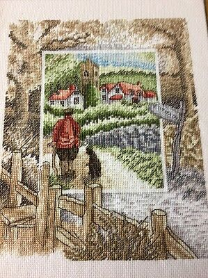 Completed Cross Stitch Old English Country Church Village Country