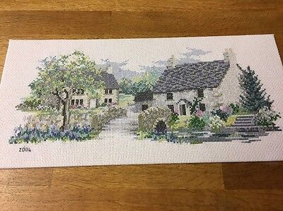 Completed Cross Stitch Old English Country Cottages Village Bridge