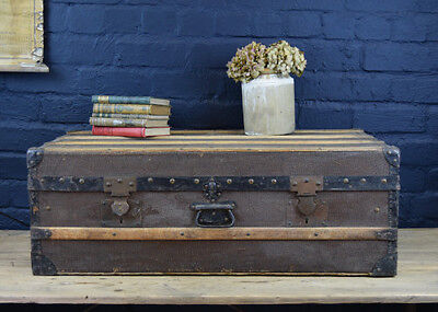 Large Vintage Antique French Banded Steamer Trunk Chest Storage With Shirt Shelf