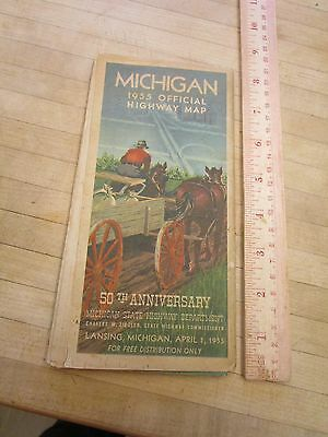 1955 Mighigan Highway Road Map 50th Anniversary Large Vintage Travel
