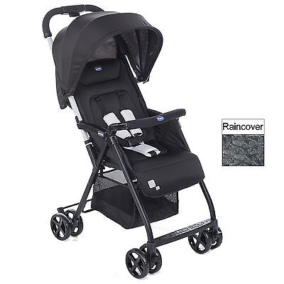 Chicco Ohlala Black Lightweight Baby Pushchair Stroller With Raincover