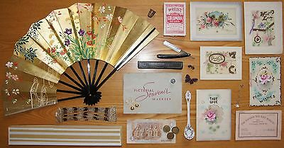 Job Lot of Antique & Vintage Collectibles - Greetings Cards Jewellery Fan etc