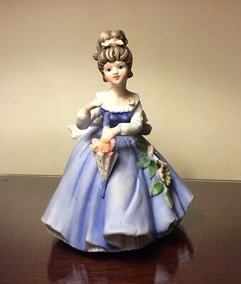 """Bisque Porcelain Girl With Umbrella Figurine 7"""" Tall"""