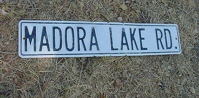 "Vintage MADORA LAKE RD Tin Street Sign White Washed Chippy Black Letters 30""x 6"""