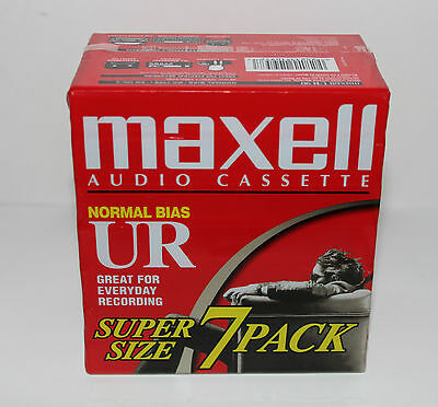 MAXELL AUDIO Cassette Normal BIAS UR Super SIze 7 Pack Brand New Sealed