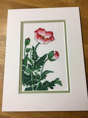 Completed Cross Stitch Wild Poppy Flower Scene Countryside Card Making
