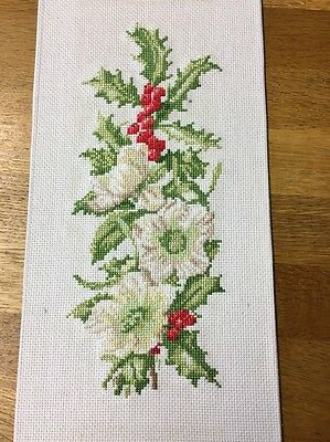 Completed Cross Stitch Wild Holly Berries And Dog Roses Flower Scene
