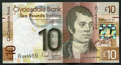 SCOTLAND   Clydesdale Bank  £10   2013 Thorburn - Chief Exec   REPLACEMENT  E/ZZ