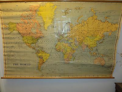 Antique Map Of The world. Approx 122 cm X  190 cm.School Roller type 1930,s?