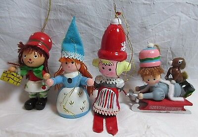 4 Vintage Wood Lady Fairy Tale Skiing Sledding Figures Christmas Ornaments