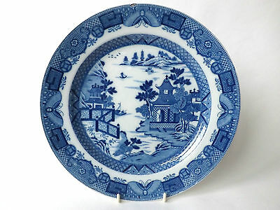 Antique Blue & White Chinese Pagoda & Landscape Porcelain Plate Butterfly Border