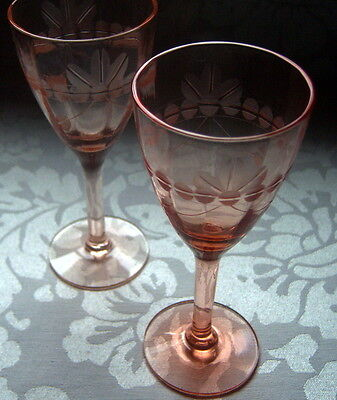 """Vintage Antique Cordial Glasses Coral Pink Color 5"""" Tall Set of 2"""