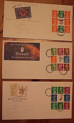 3 X booklet pane first day covers Agatha Christie Tolkien Beatrix Potter