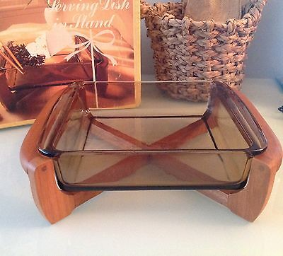 Vintage JAJ Pyrex Corning Ware serving dish and wooden stand Mid Century boxed