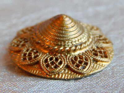 Antique Vintage Brass Cone Shaped Button Signed Czechoslovakia #728-A