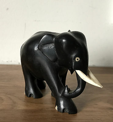 Black Ebonised Wooden Carving of an Indian Elephant