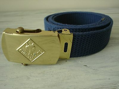 """CUB SCOUT SOLID BRASS BUCKLE & 29"""" WEB BELT Made In USA  EXCELLENT"""